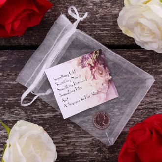 Traditional Bride Wedding Keepsake In Organza Bag With Genuine Sixpence - Iconic Collection